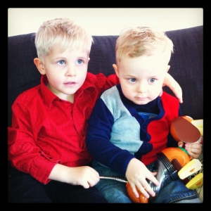 Our boys, JA and V, at Christmas time 2011